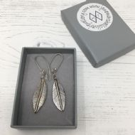 Jane Marshall Round Silver Leaf Drop Earrings